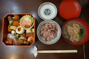十八穀米と鴨の治部煮